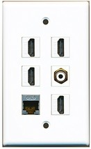RiteAV - 4 HDMI 1 Port RCA White 1 Port Shielded Cat6 Ethernet Wall Plate - $26.07