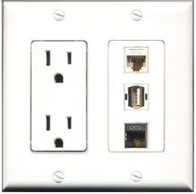 RiteAV - 15 Amp Power Outlet 1 Port USB A-A 1 Port Shielded Cat6 Etherne... - $29.69