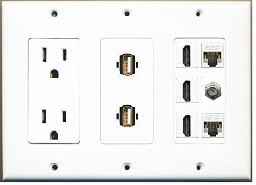 RiteAV 15 Amp Power Outlet 2 USB - 3 HDMI 2 Ethernet 1 Coax Cable TV Wall Plate for sale  USA