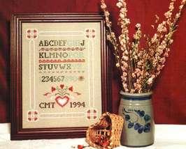 CLEARANCE Folk Heart Sampler cross stitch chart Heart in Hand - $2.50