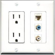 RiteAV - 15 Amp Power Outlet 1 Port RCA White 1 Port RCA Blue 1 Port Cat... - $29.69