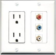 RiteAV - 15 Amp Power Outlet 1 Port RCA Red 1 Port RCA White 1 Port RCA ... - $29.69