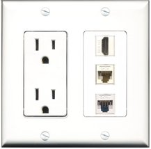 RiteAV - 15 Amp Power Outlet 1 Port HDMI 1 Port Cat5e Ethernet White 1 Port C... - $29.69