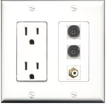 RiteAV - 15 Amp Power Outlet 1 Port RCA White 2 Port Toslink Decora Wall Plate - $29.69