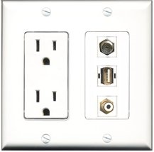 RiteAV - 15 Amp Power Outlet 1 Port RCA White 1 Port Coax 1 Port USB A-A Deco... - $29.69