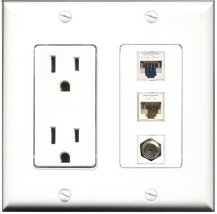 RiteAV - 15 Amp Power Outlet 1 Port Coax 1 Port Cat5e Ethernet White 1 Port C... - $29.69
