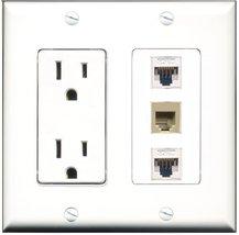 RiteAV - 15 Amp Power Outlet 1 Port Phone Beige 2 Port Cat5e Ethernet White Deco - $34.99