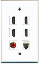 RiteAV - 4 HDMI 1 Port RCA Red 1 Port Cat5e Ethernet White Wall Plate - $26.07