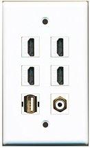 RiteAV - 4 HDMI 1 Port RCA White 1 Port USB A-A Wall Plate - $26.07