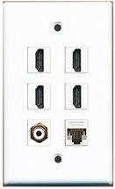 RiteAV - 4 HDMI 1 Port RCA White 1 Port Cat5e Ethernet White Wall Plate - $26.07