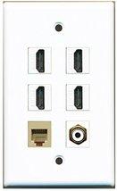 RiteAV - 4 HDMI 1 Port RCA White 1 Port Phone RJ11 RJ12 Beige Wall Plate - $26.07