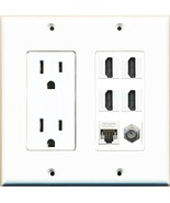 RiteAV Power Outlet 4 HDMI White Coax Cat5E Wall Plate White - $36.61