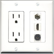 RiteAV - 15 Amp Power Outlet 1 Port HDMI 1 Port Coax 1 Port Toslink Decora Wa... - $29.69