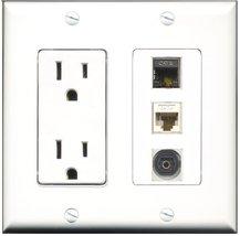 RiteAV - 15 Amp Power Outlet 1 Port Shielded Cat6 Ethernet Ethernet 1 Po... - $29.69