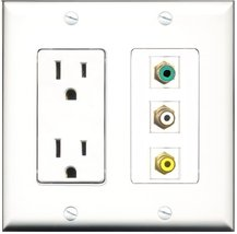 RiteAV - 15 Amp Power Outlet 1 Port RCA White 1 Port RCA Yellow 1 Port R... - $29.69