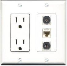 RiteAV - 15 Amp Power Outlet 2 Port Toslink 1 Port Cat6 Ethernet Etherne... - $29.69