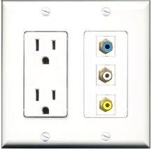 RiteAV - 15 Amp Power Outlet 1 Port RCA White 1 Port RCA Yellow 1 Port R... - $34.99