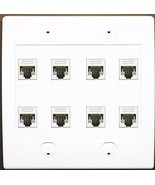 RiteAV 8 Port Flat Dual 2 Gang Ethernet Cat5e RJ45 Network Wall Plate - ... - $44.98