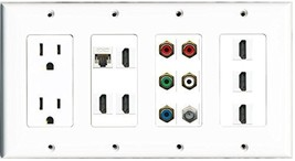 RiteAV - (4 Gang) 15A Power Outlet 6 HDMI Coax Cat5e Component Video Wall Pla... - $85.12