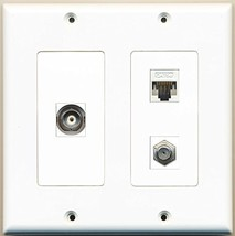 RiteAV - 1 Port Coax Cable TV- F-Type 1 Port BNC 1 Port Cat5e Ethernet White - 2 - $27.99
