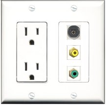 RiteAV - 15 Amp Power Outlet 1 Port RCA Yellow 1 Port RCA Green 1 Port Toslin... - $29.69