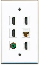 RiteAV - 4 HDMI 1 Port RCA Green 1 Port Cat6 Ethernet White Wall Plate - $26.07