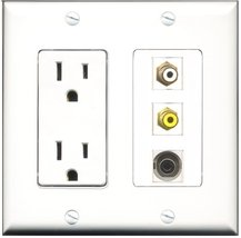 RiteAV - 15 Amp Power Outlet 1 Port RCA White 1 Port RCA Yellow 1 Port 3.5mm ... - $29.69