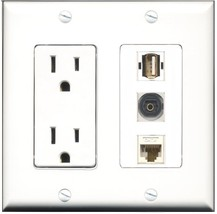 RiteAV - 15 Amp Power Outlet 1 Port USB A-A 1 Port Toslink 1 Port Cat6 Ethern... - $29.69