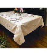 Polyester Table Cloth Rectangular Ivory Floral Design Dinner Party Linen... - $1.301,71 MXN
