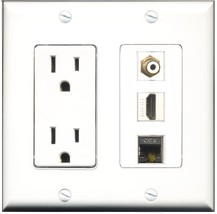 RiteAV - 15 Amp Power Outlet 1 Port HDMI 1 Port RCA White 1 Port Shielded Cat... - $29.69