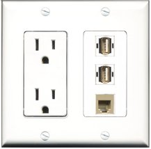 RiteAV - 15 Amp Power Outlet 2 Port USB A-A 1 Port Phone Beige Decora Wa... - $29.69