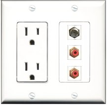 RiteAV - 15 Amp Power Outlet 2 Port RCA Red 1 Port Coax Decora Wall Plate - $29.69