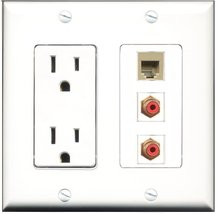 RiteAV - 15 Amp Power Outlet 2 Port RCA Red 1 Port Phone Beige Decora Wa... - $29.69