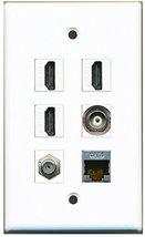 RiteAV - 3 HDMI 1 Port Coax Cable TV- F-Type 1 Port Shielded Cat6 Ethern... - $26.07
