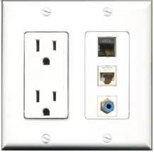 RiteAV - 15 Amp Power Outlet 1 Port RCA Blue 1 Port Shielded Cat6 Ethern... - $29.69