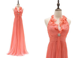 Rosyfancy Halter V-neck Empire Waist Draped Chiffon Wedding Bridesmaid Dress - $115.00