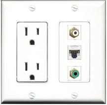 RiteAV - 15 Amp Power Outlet 1 Port RCA White 1 Port RCA Green 1 Port Ca... - $29.69