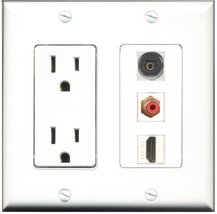 RiteAV - 15 Amp Power Outlet 1 Port HDMI 1 Port RCA Red 1 Port Toslink Decora... - $29.69