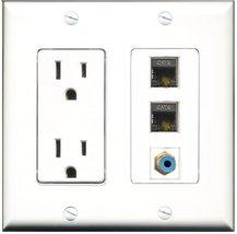 RiteAV - 15 Amp Power Outlet 1 Port RCA Blue 2 Port Shielded Cat6 Ethern... - $29.69
