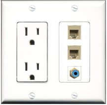 RiteAV - 15 Amp Power Outlet 1 Port RCA Blue 2 Port Phone Beige Decora W... - $29.69