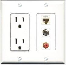 RiteAV - 15 Amp Power Outlet 1 Port RCA Red 1 Port Coax 1 Port Cat6 Ethe... - $29.69