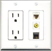 RiteAV - 15 Amp Power Outlet 1 Port RCA Yellow 1 Port Shielded Cat6 Ethe... - $21.33