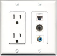 RiteAV - 15 Amp Power Outlet 1 Port RCA Blue 1 Port 3.5mm 1 Port Cat5e Ethernet  - $34.99