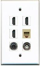 RiteAV - 3 HDMI 1 Port Phone RJ11 RJ12 Beige 1 Port 3.5mm 1 Port BNC Wal... - $24.95