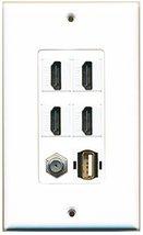 RiteAV - 4 Port HDMI 1 Coax Cable TV- F-Type 1 USB A-A Wall Plate Decora... - $26.07