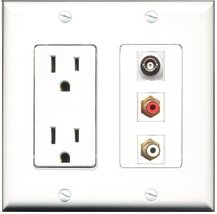 RiteAV - 15 Amp Power Outlet 1 Port RCA Red 1 Port RCA White 1 Port BNC Decor... - $29.69