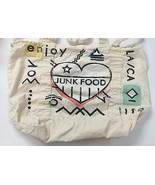 JUNK FOOD Screen Printed Tote Bag Shopper • Ivory Trade Show Promo • Enj... - $12.82