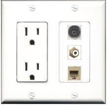 RiteAV - 15 Amp Power Outlet 1 Port RCA White 1 Port Phone Beige 1 Port Toslink  - $34.99