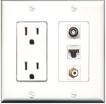 RiteAV - 15 Amp Power Outlet 1 Port RCA White 1 Port BNC 1 Port Cat5e Etherne... - $29.69