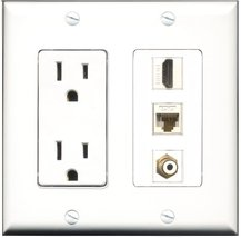 RiteAV - 15 Amp Power Outlet 1 Port HDMI 1 Port RCA White 1 Port Cat6 Etherne... - $29.69